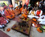 Devotees perform 'havan' to mark Bhumi Pujan day of Ram Temple in Ayodhya