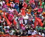 Garment workers from Toba Group Factory attend a protest rally