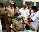 Director General Police  M. Mahender Reddy took the second dose of Kovid vaccine today. Kovacin was vaccinated at the Amberpet Urban Health Center. Vaccination under the supervision of Amber Pettu Medical Officer Gitarani