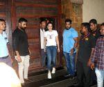 Ameesha Patel, Rohit Shetty seen outside Ajay Devgn's house