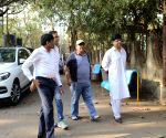 Satish Kaushik arrives at Raj Kumar Barjatya's residence