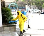 Disinfectants being sprayed across the city to contain COVID-19