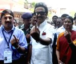 2014 Lok Sabha Polls - Sixth Phase - M Karunanidhi and MK Stalin