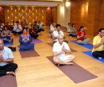 AIIMS doctors perform Yoga ()