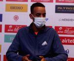 Ethiopian long-distance runner Andamlak Belihu's press conference