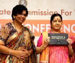 Sushma Swaraj, Vijaya Rahatkar during the national conference on NRI marriages and trafficking of women and children