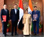 Sushma Swaraj, UAE Foreign Minister during Exchange of Agreements