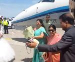 Sushma Swaraj arrives in Kyrgyzstan