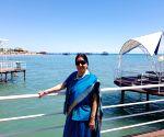 Sushma visits Lake Issyk Kul