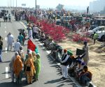 Farmers blocked KMP Expressway, Kundli border against new agricultural laws during the 100 days completion on Saturday in New Delhi on Saturday 06th March, 2021