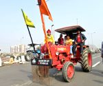 Farmers with their tractors at Delhi-Uttar Pradesh in Ghazipur border
