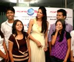 Femina Miss India Universe Simran Kaur Mundi at the Flying Cats School, in New Delhi on friday. She gave the students various tips on how to enhance one's personality.