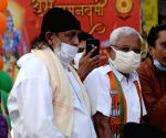 Film star Mithun Chakraborty take part in an election campaign rally for BJP candidate for Bhawanipur and Rasbihari assembly seats Rudranil Ghosh and Lieutenant Gen Subrata Saha ahead of state legislative assembly elections in Kolkata
