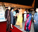First Lady of South Korea Kim Jung-sook arrives in India