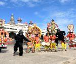 Rehearsals underway for Dasara Jumbo Safari at Mysuru Palace