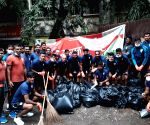 Indian Footballers participate in 'Swachhata Hi Seva