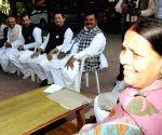 Rabri Devi during a meeting with the legislators