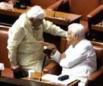 Siddaramaiah  with Congress MLAs at assembly
