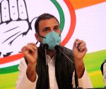 Former congress President Rahul Gandhi addressing a press conference
