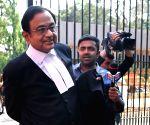 P. Chidambaram outside Karnataka High Court