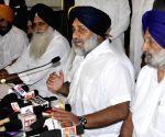 Sukhbir Singh Badal addressing media