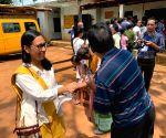 2019 Lok Sabha election: Meghalaya CM, Agatha K. Sangma at polling station