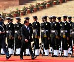 Francois Hollande inspecting the guard of honour