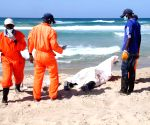 Rescue workers transfer bodies of illegal immigrants