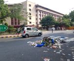 NDMC workers protest, garbage lies on the streets