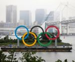 Giant Olympic rings returns to Tokyo Bay