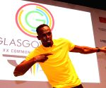 Usain Bolt of Jamaica at a press conference
