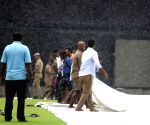Pitch at MA Chidambaram Stadium covered with plastic sheets during rains