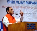 Vijay Rupani rings opening bell at BSE