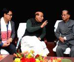 Tarun Gogoi, Rajnath Singh during a meeting