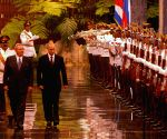 Cuban President Raul Castro and his Russian counterpart Vladimir Putin attend a joint press conference in Havana city
