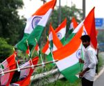 Hawkers sell Indian flag ahead of Independence Day