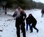 Twitterati amused over clip of snowball-attack on weatherman