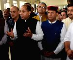 MLAs watch broadcast of the launch of 'Fit India Movement' by PM Modi at Himachal Assembly