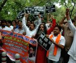 Hindu Sena demonstration outside Rajnath's residence