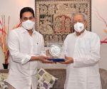 Hyderabad : Andhra Pradesh CM YS Jaganmohan Reddy meet Governor of Andhra Pradesh Biswabhusan Harichandan on a courtesy visit at Raj Bhavan  in Hyderabad.