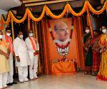 Hyderabad :  BJP Telangana president and MP Bandi Sanjay Kumar garlanding portrait  Syama Prasad Mukherjee death Anniversary in Hyderabad.