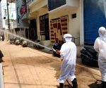 Hyderabad :  Due to Covid  Disinfectants Spraying by DRF internal lanes and residential colonies across Karwan   Area on  6th May 2021.