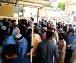 Hundreds of Muslims offering((Namaz e  Jamat Ul Vida) last Friday of holy month of Ramzan in Hyderabad at Mecca masjid