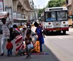 Hyderabad : Migrant people every day seating in front of Secunderabad  Railway station for Train in Hyderabad