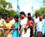 : Hyderabad:YSRCP president YS Sharmila during her 4,000-kilometre long padayatra at Ranga Reddy district