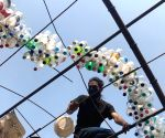 Gurugram artists create eye-opening art installations from plastic trash