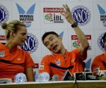 Lee Chong Wei from Malaysia with Tine Baun from Denmark during a press conference