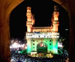 : Hyderabad:Illuminated Charminar during the opening ceremony of 'Ek Shaam Charminar ke Naam'