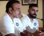 Ravi Shastri, Virat Kohli at a press conference