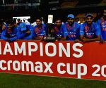 Indian cricket team with winning trophy